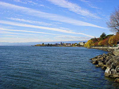 Photograph - Lausanne Coast On Lake Geneva by Robert Meyers-Lussier