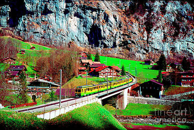 Photograph -  Lauterbrunnen Electric Train by Tom Jelen