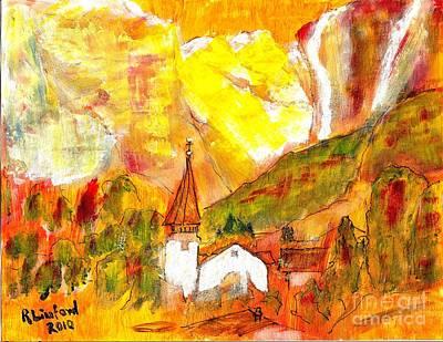 Painting - Lauterbrunnen Switzerland by Richard W Linford