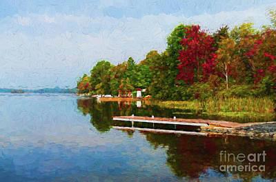 Photograph - Lauzon Lake Shoreline - Painterly by Les Palenik