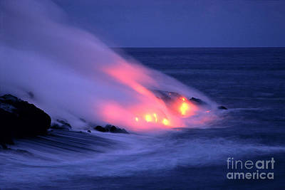 Lava And Pink Smoke Art Print by William Waterfall - Printscapes