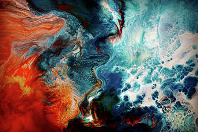 Painting - Lava And Water Abstract by Lilia D