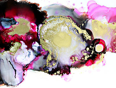 Painting - Ink Abstract Aerial Landscape, Pink Gold Black, Lava Bay by Lake and River Co