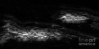 Digital Art - Lava Beds At Night Bw by Tim Richards