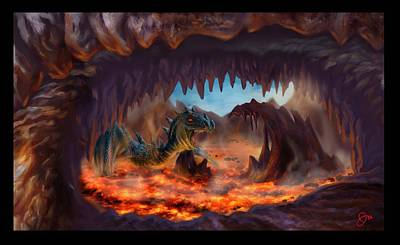 Cavern Digital Art - Lava Dragon's Lair by Joseph Vallejo
