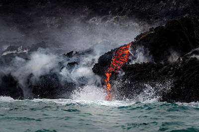 Photograph - Lava Dripping Into The Ocean by Daniel Murphy