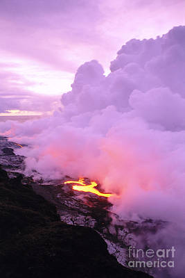 Photograph - Lava Enters Ocean by Peter French - Printscapes