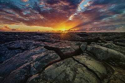 Photograph - Lava Field Sunrise by Allen Biedrzycki