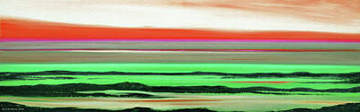 Painting - Lava Rock Abstract Panoramic Sunset In Red And Green by Gina De Gorna