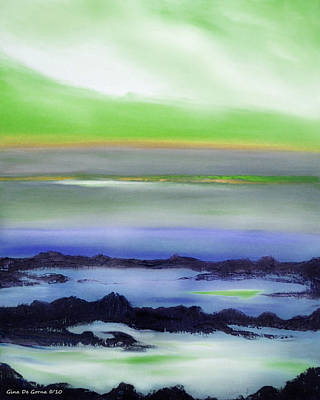 Painting - Lava Rock Abstract Sunset In Blue And Green by Gina De Gorna