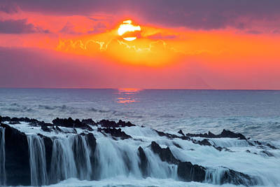 Lava Rock And Vog Sunset Print by Sean Davey