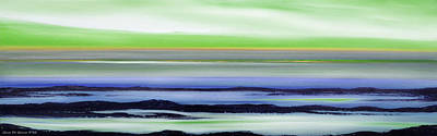 Painting - Lava Rock Panoramic Sunset In Green And Blue by Gina De Gorna