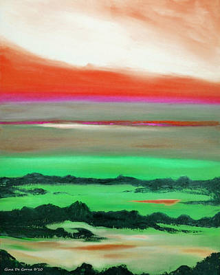 Painting - Lava Rock Sunset In Red And Green by Gina De Gorna