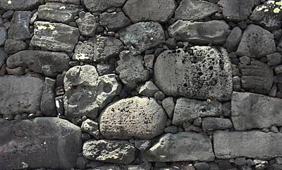Digital Art - Lava Rock Wall 1 Dark by Karen Dyson