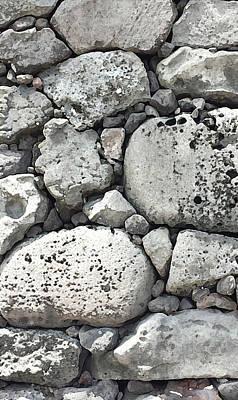 Digital Art - Lava Rock Wall 1 Triptych C by Karen Dyson