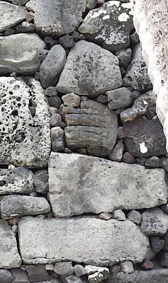 Digital Art - Lava Rock Wall 1 Triptych R by Karen Dyson