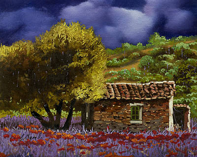 Red Poppy Painting - Lavanda Sotto Il Cielo Blu by Guido Borelli
