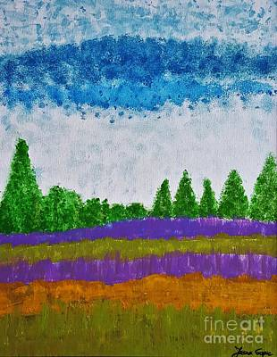 Painting - Lavander In A Golden Green Field By Jasna Gopic by Jasna Gopic