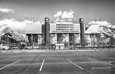 Photograph - Lavell Edwards Stadium Black And White by David Millenheft