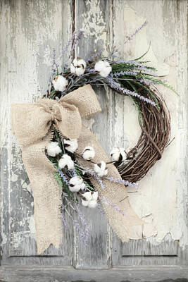 Photograph - Lavender And Cotton Wreath by Lori Deiter