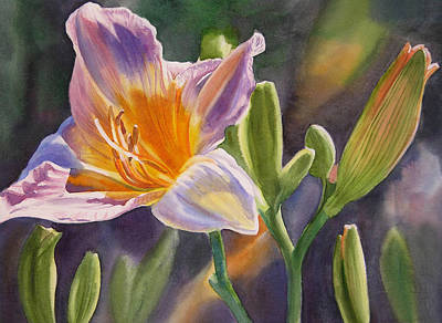 Flower Wall Art - Painting - Lavender And Gold Lily by Sharon Freeman