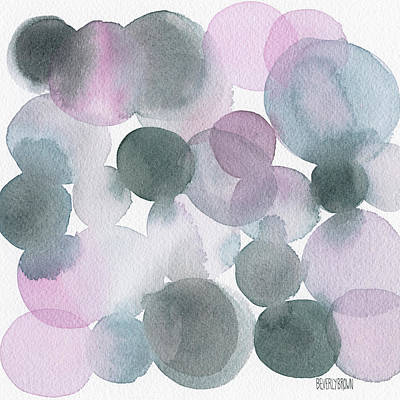 Grey Painting - Lavender And Gray Circles Abstract Watercolor by Beverly Brown