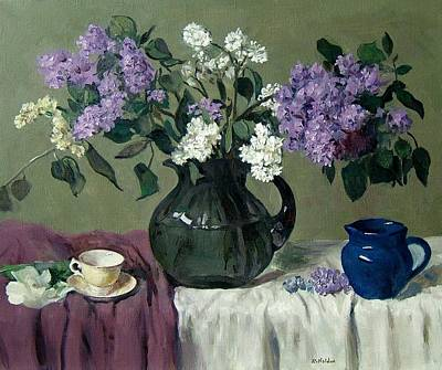 Lavender And White Lilacs With Blue Creamer And Teacup Art Print