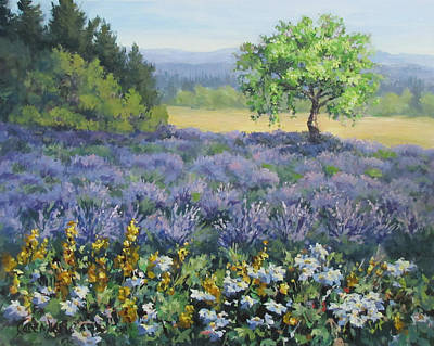 Painting - Lavender And Wildflowers by Karen Ilari