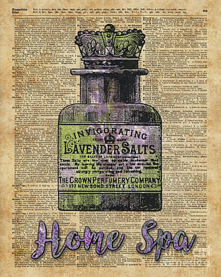 Provence Mixed Media - Lavender Bath Salts Old Book Page Vintage Illustration by Jacob Kuch