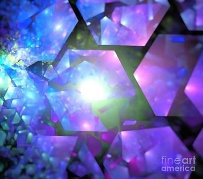Digital Art - Lavender Blue Crystals by Kim Sy Ok