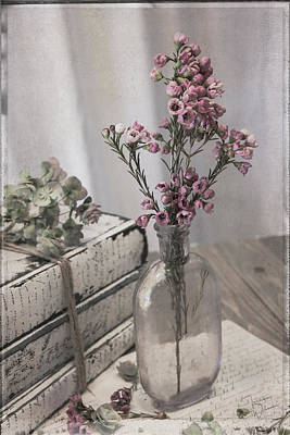 Photograph - Lavender Bottle With Waxflowers by Teresa Wilson