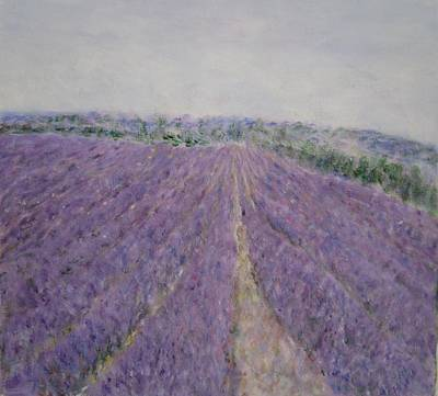 Painting - Lavender Crop In Burgundy France by Glenda Crigger
