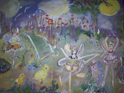 Art Print featuring the painting Lavender Fairies by Judith Desrosiers