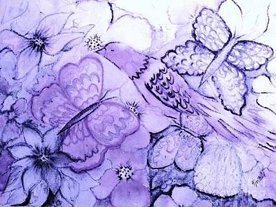 Painting - Lavender Fantasy Garden by Hazel Holland