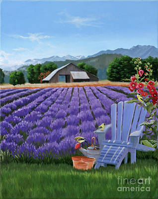 Holly Hocks Painting - Lavender Farm by Julie Peterson
