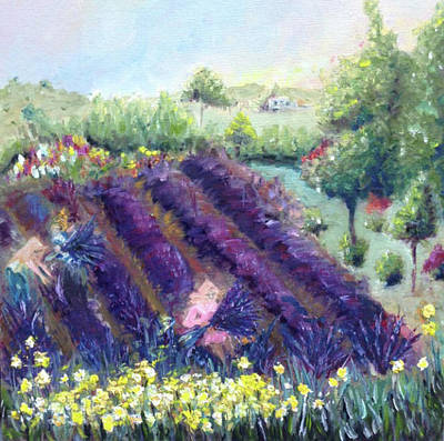 Landscapes Painting - Lavender Farm by Roxy Rich