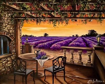 Painting - lavender Field by Art By Three Sarah Rebekah Rachel White