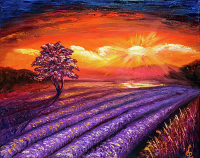 Painting - Lavender Field At Sunset by Lilia D