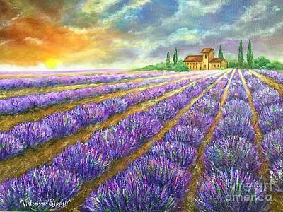 Pallet Knife Painting - Lavender Field by Viktoriya Sirris