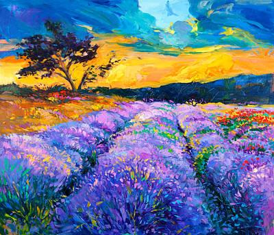 Lavender Drawing - Lavender Fields By Ivailo Nikolov by Boyan Dimitrov