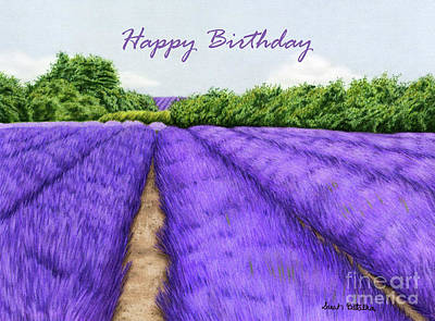 Field Of Flowers Painting - Lavender Fields- Happy Birthday Cards by Sarah Batalka