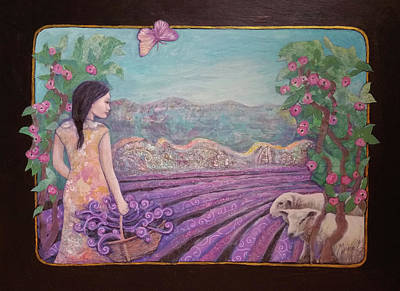 Wall Art - Painting - Lavender Harvest With Friends by Gina Grundemann