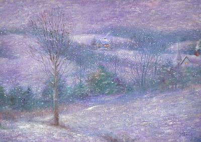 Painting - Lavender Impressionist Snowscape by Judith Cheng