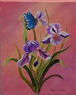 Painting - Lavender  Iris With Butterfly by Fram Cama