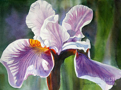 Purple Irises Painting - Lavender Iris With Colorful Background by Sharon Freeman