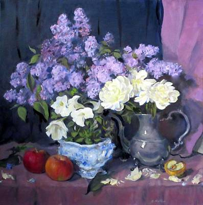 Painting - Lilacs, White Peonies And White Lisianthus by Robert Holden