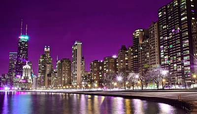 Photograph - Lavender Night In Chicago by Frozen in Time Fine Art Photography
