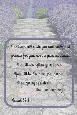 Photograph - Lavender Path With Scripture Art Isiah 58 by Valerie Garner