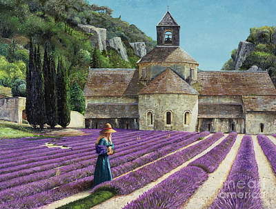 Church Painting - Lavender Picker - Abbaye Senanque - Provence by Trevor Neal