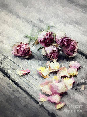 Lavender Roses And Petals Print by Amy Cicconi